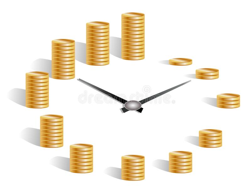 Concept time is money, dial, clock hands, around the pile of gold coins from one to twelve. Time management illustration. Time management business concept vector illustration