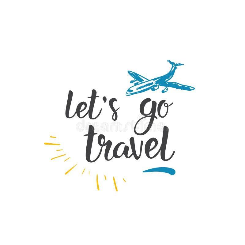 Concept tiré par la main de déplacement d'aventure de tourisme de lettrage de tour du monde d'icône de citation illustration libre de droits