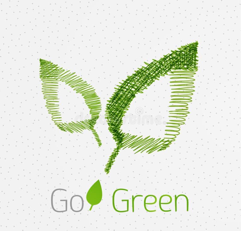 Concept tiré par la main de feuille verte illustration libre de droits