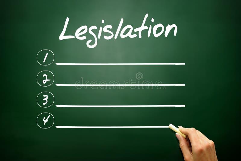 Concept tiré par la main de liste de blanc de législation sur le tableau noir image stock