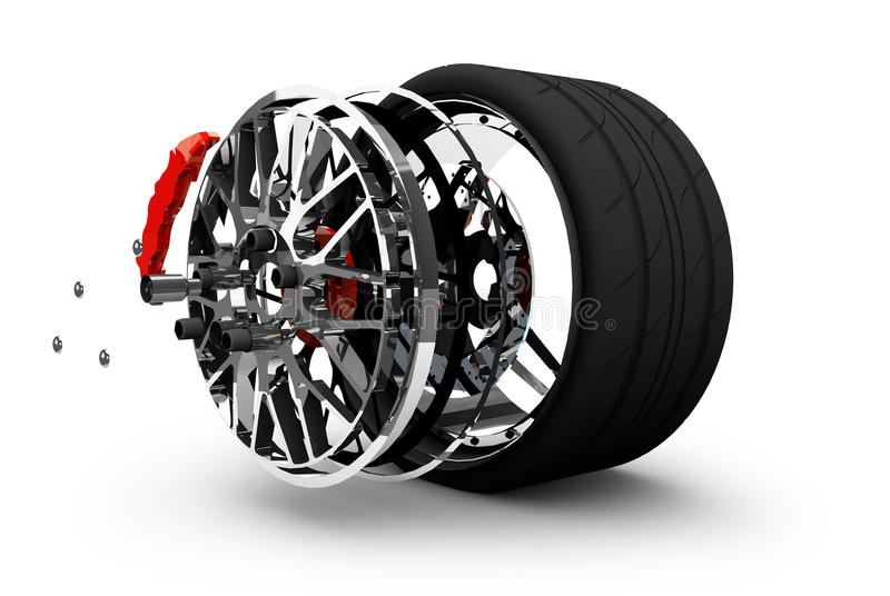 Concept of tire service. Wheels, Rims , brake pads and discs. CA. R PARTS. on white background High resolution 3d render royalty free illustration