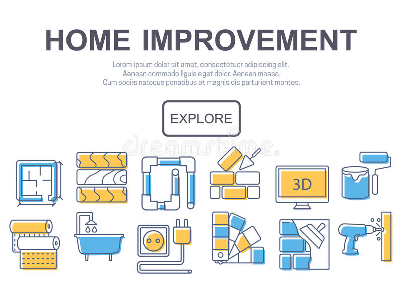 Concept of title site page or banner for home improvement vector illustration