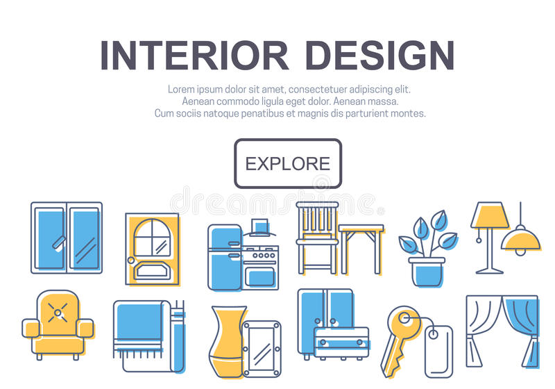 Concept Of Title Site Page Or Banner For Interior Design Stock