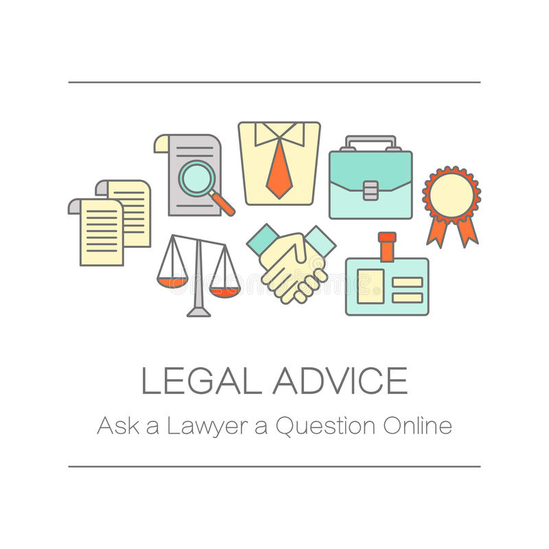 Concept of title site page or banner for legal advice. vector illustration