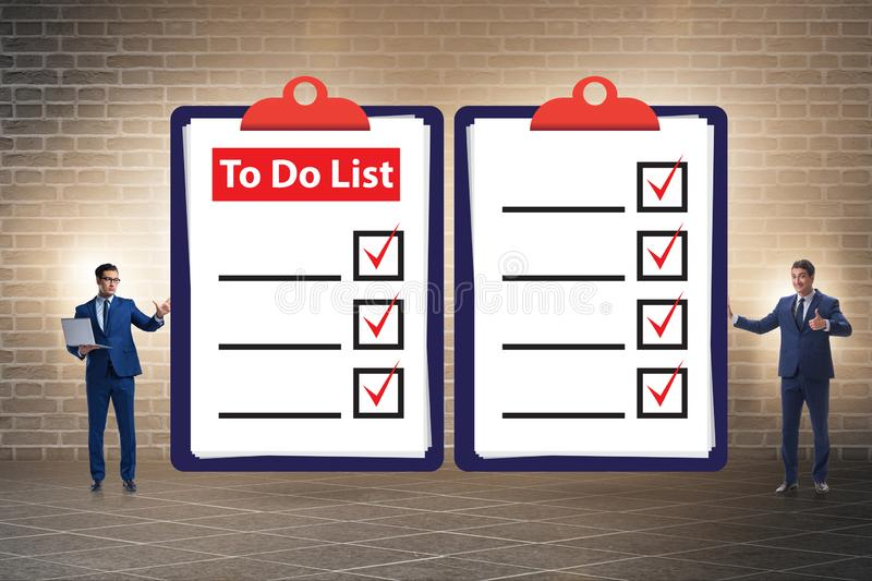 Concept of to do list with businessman stock images