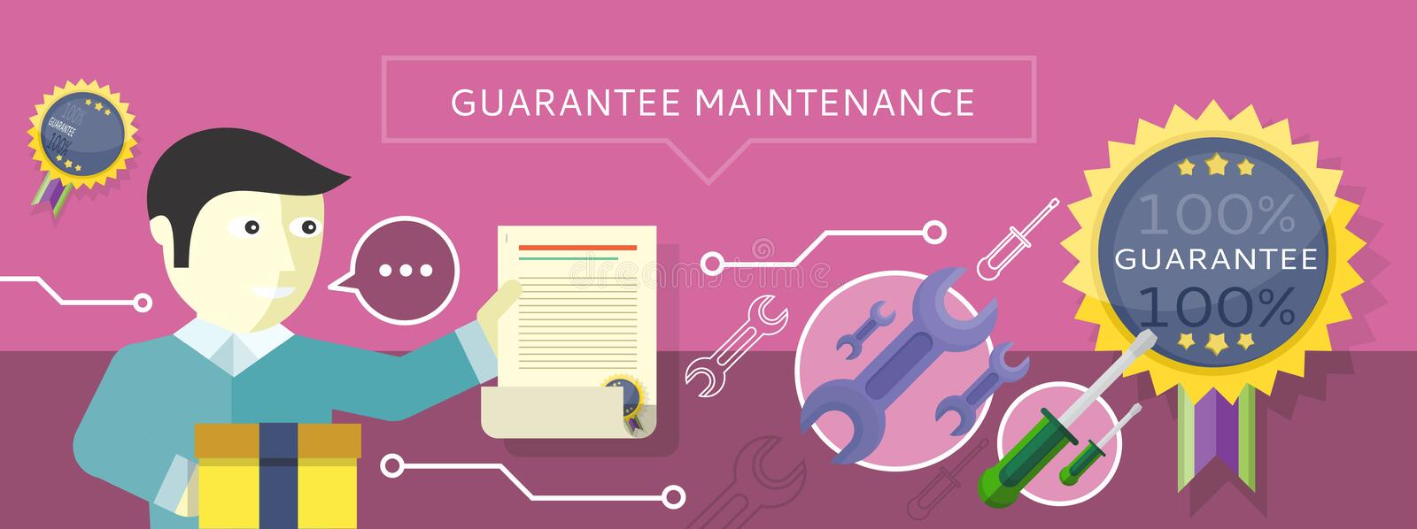 Concept to Provide Service Guarantees Maintenance. Man holding a document Guarantee on the purple background. For web banners, promotional materials royalty free illustration