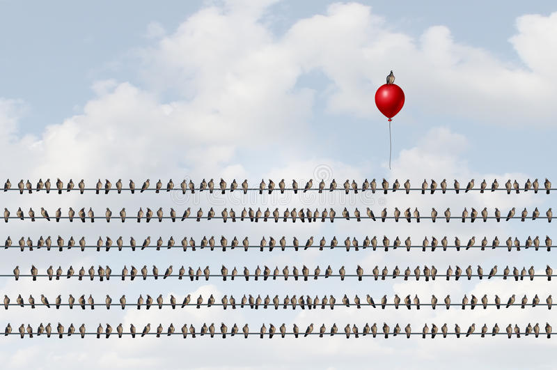 Concept To Think Different. As a group of birds on a wire with an upward moving bird on a red balloon as a business success metaphor of outsider thinking and stock illustration