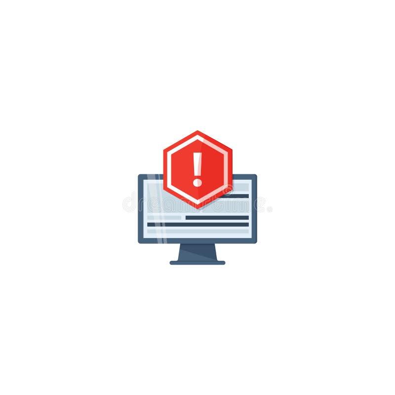Concept toepassingsfout De fout van het aandachtsbericht Rode waakzame waarschuwing van spamgegevens, onzekere verbinding, zwende stock illustratie