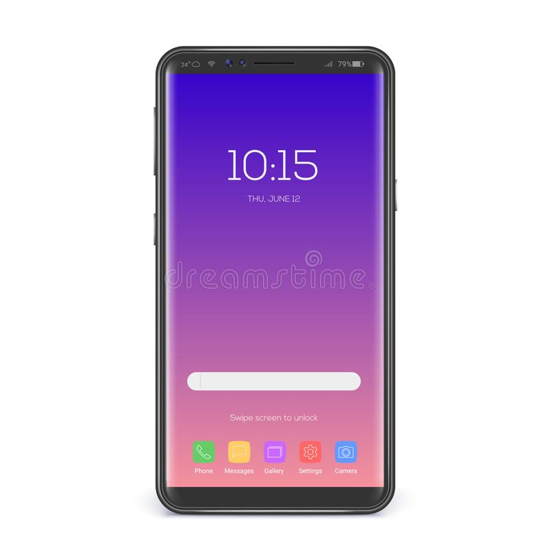 Concept of touch screen smartphone. Element of interface, screen icons and button on trendy gradient. Mobile phone vector illustration