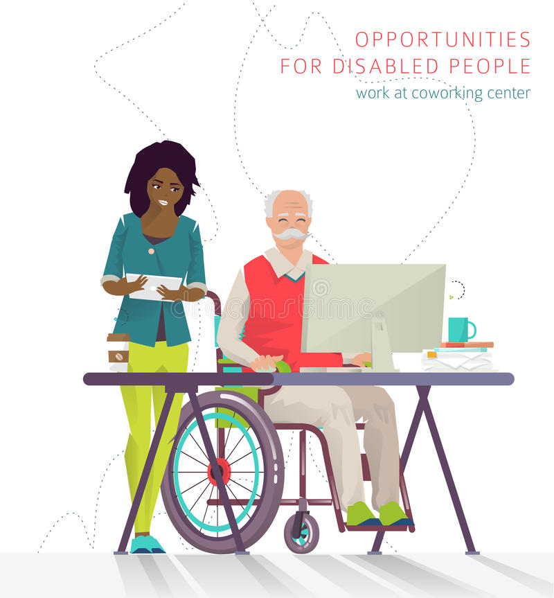 Concept of training courses for all people. Disabled man has opportunity to learn something new or to work via internet. Vector flat illustration stock illustration