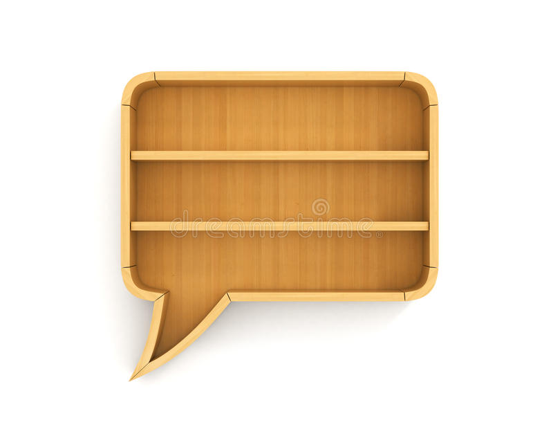 Concept of training. Empty bookshelf in form of dialog. Science about human. Have no argument for speaking. A human have no knowledge royalty free stock image
