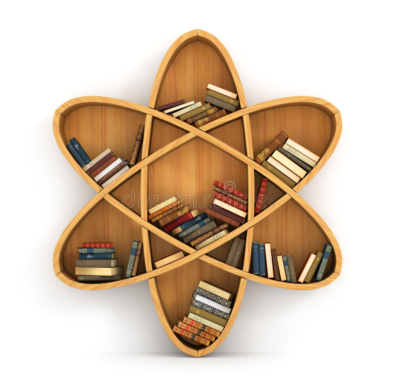 Concept of training. Wooden bookshelf in form of atom. Science about human. Physics. A human have more knowledge vector illustration