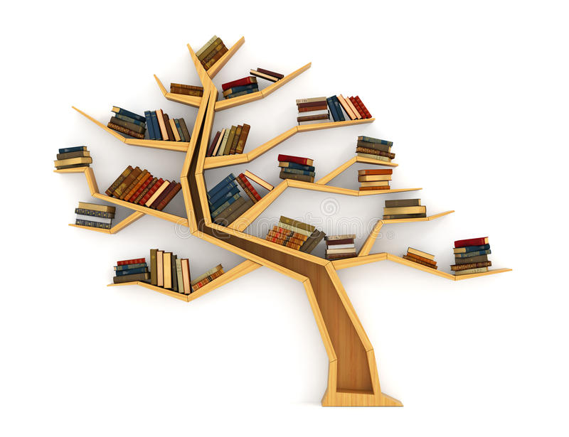 Concept of training. Wooden bookshelf in form of tree. Science about nature. The tree of knowledge. A human have more knowledge vector illustration
