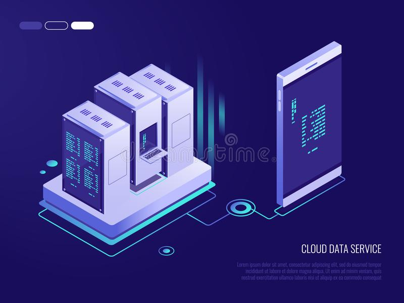 Concept of transferring data from phone to database.Cloud data service. 3d Isometric style stock illustration