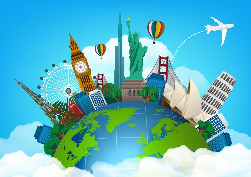 The concept of travel. famous monuments of the world royalty free illustration