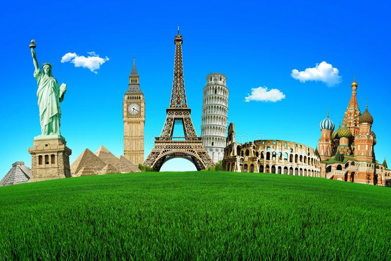 Concept of travel. Green field with the wonders of the world. Around The World Tours stock photography
