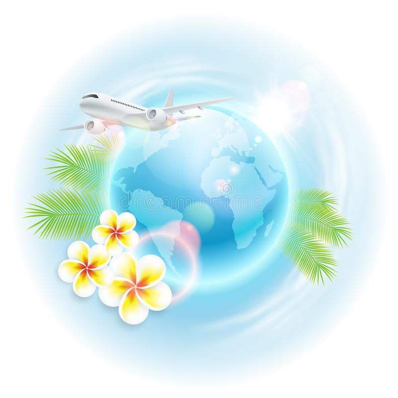 Concept travel illustration with airplane, globe, flowers and palm leaves royalty free illustration