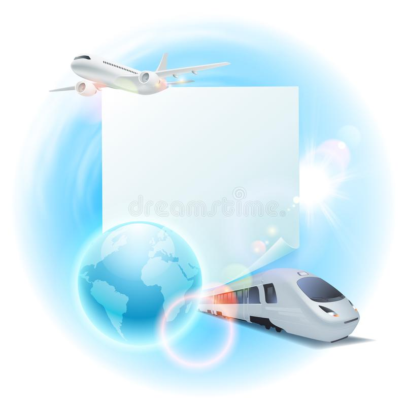 Concept travel illustration with airplane, train, globe and note for your text. EPS10 vector vector illustration