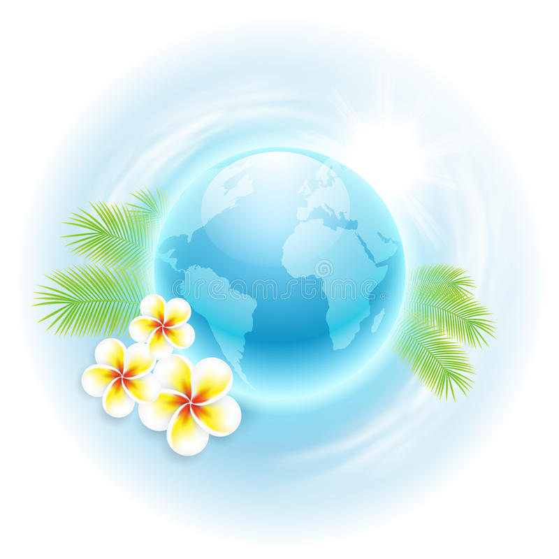 Concept travel illustration with globe, flowers an vector illustration