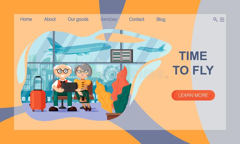 The concept of Travel Website Landing Page. A couple of elderly people are sitting with a laptop at the airport waiting for the stock illustration