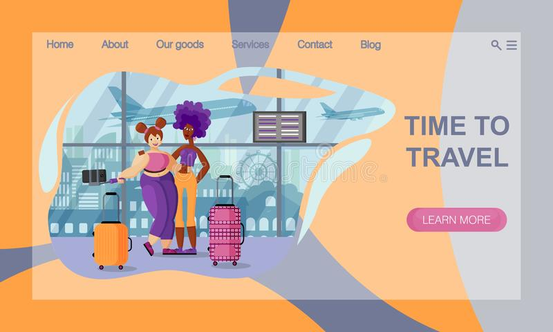 The concept of Travel Website Landing Page.  A couple of girlfriends of different nationalities and physiques are taking a selfie. The concept of Travel Website royalty free illustration