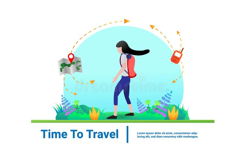 Concept Travel Women are walking into the forest have maps and radio o. royalty free illustration
