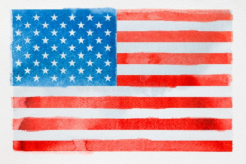 Concept of traveling. Watercolor American flag on white royalty free stock images