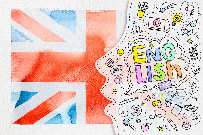 Concept of traveling. Watercolor British flag on white royalty free stock image