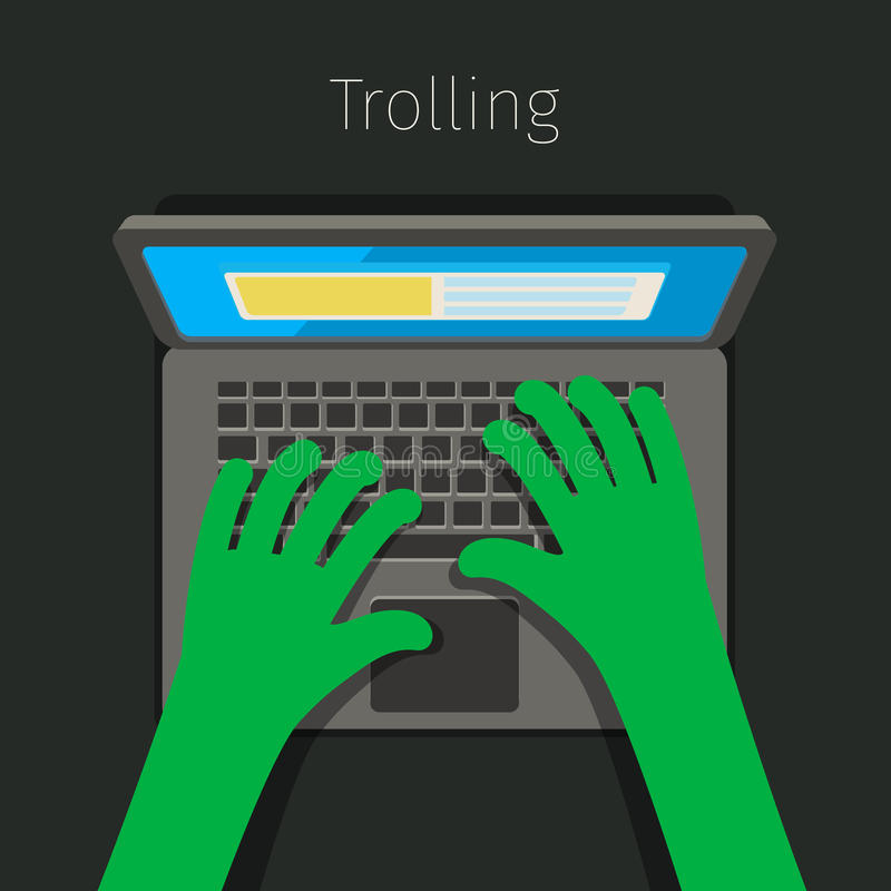 Concept of trolling in internet. Internet troll using a laptop. Flat design, vector illustration royalty free illustration
