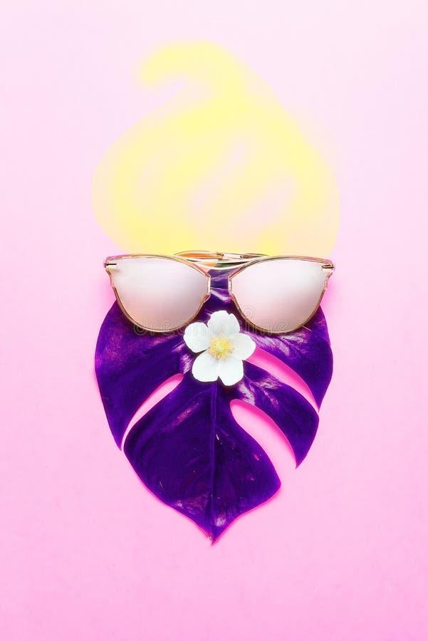 concept tropical d'été Monstre de hippie de Trandy en verres roses Affiche créative - fond lumineux au néon Style à la mode photographie stock