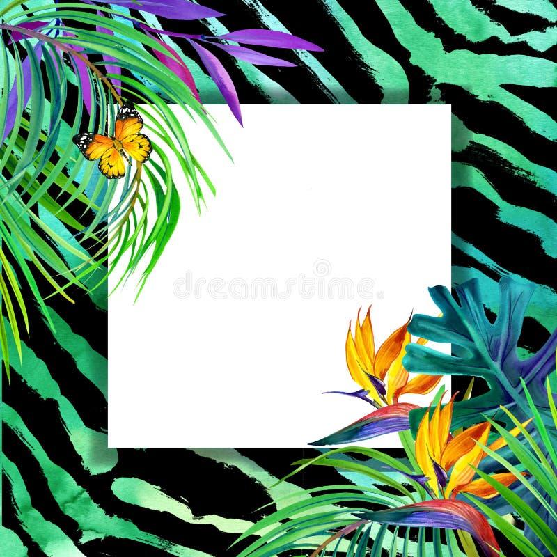 Concept tropical d'été pour la conception usine d'aquarelle illustration stock