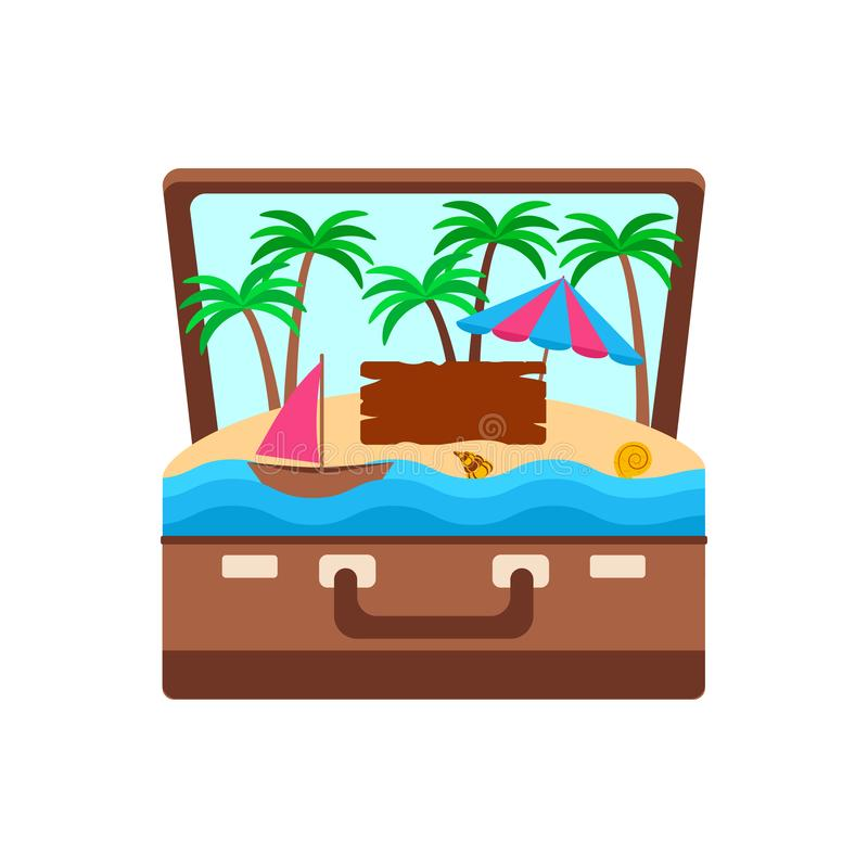 Concept tropical island in a suitcase, palm trees and an umbrella on the sand and a sail in the ocean, vector illustration royalty free illustration