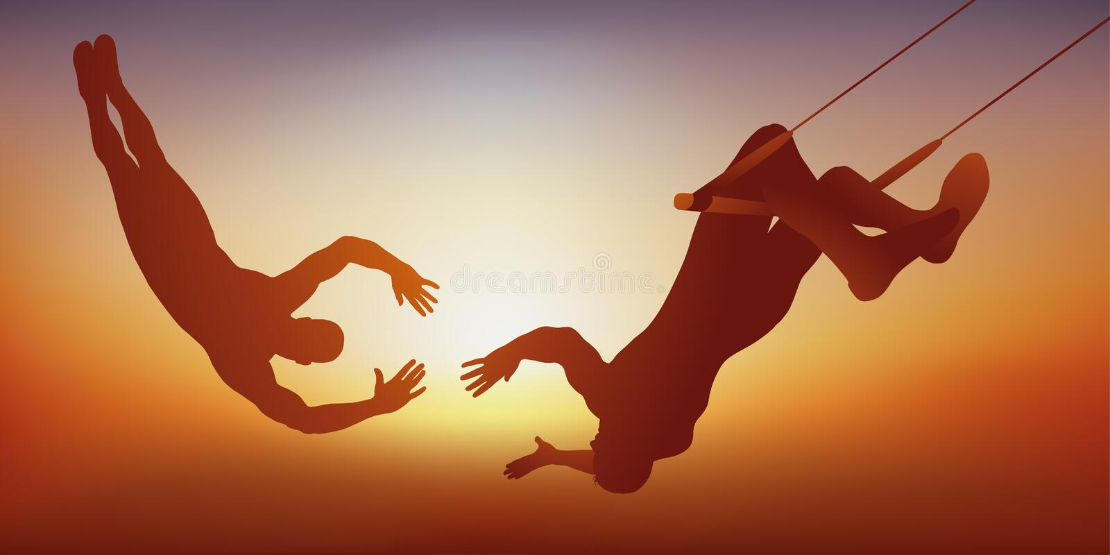 Two circus performers perform an acrobatic act on their trapeze. royalty free illustration