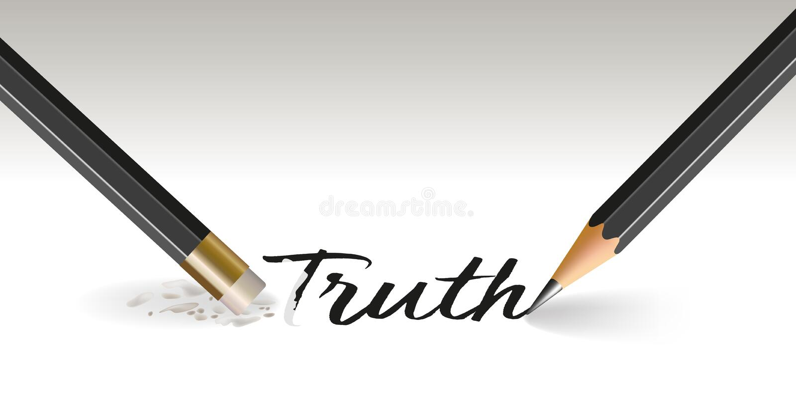 Concept of truth jugulated with the word that disappears with a blow of gum. vector illustration