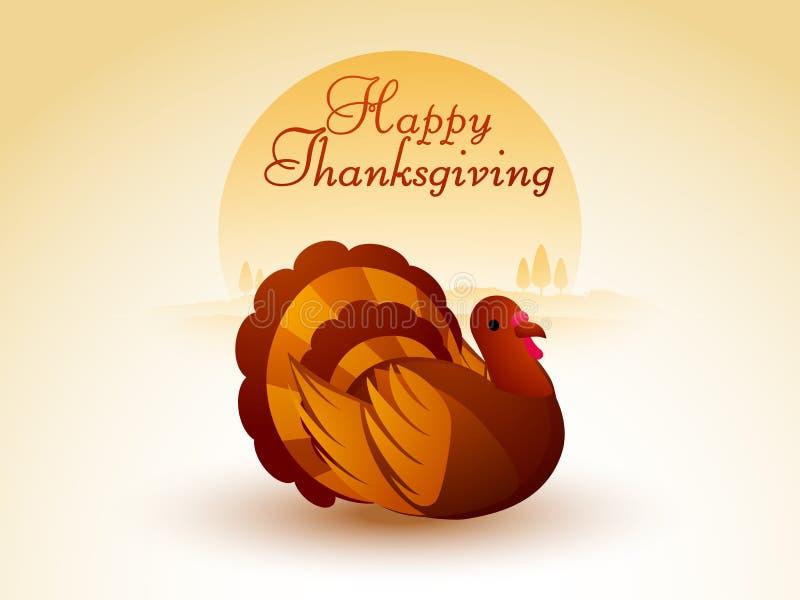 Concept of turkey bird for Thanksgiving Day celebration. royalty free illustration