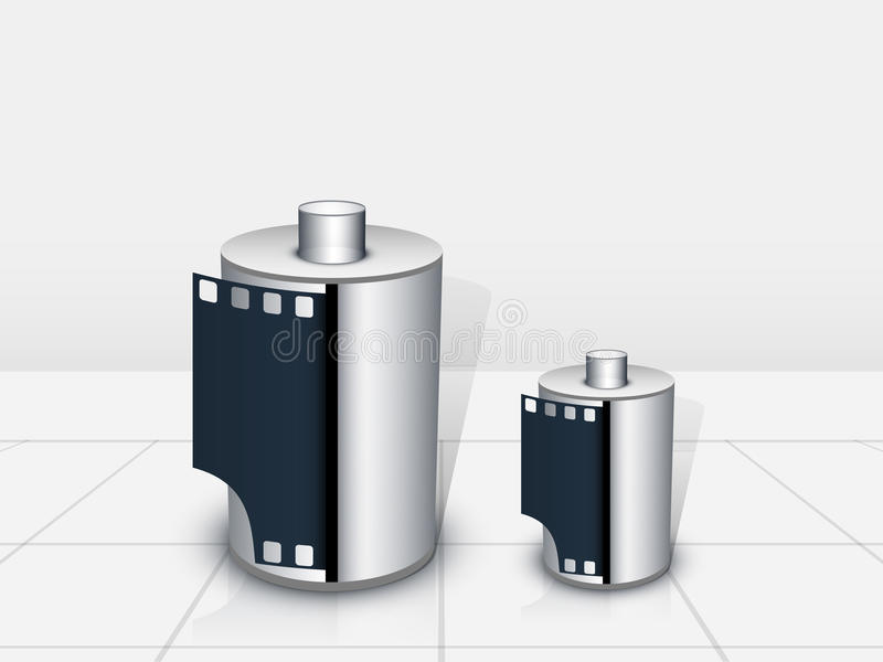 Concept of two film rolls. stock illustration
