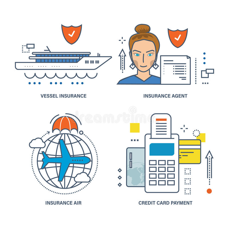 Concept - types van verzekering, methodebetaling door creditcard royalty-vrije illustratie
