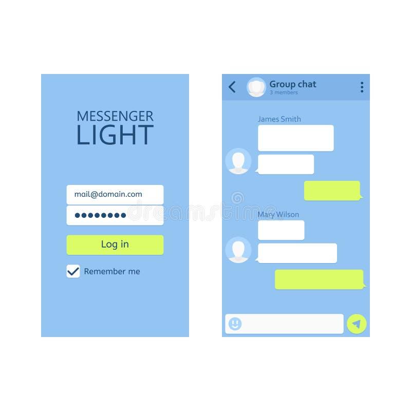 Concept UI-boodschapper van het uitrustings de sociale netwerk royalty-vrije illustratie
