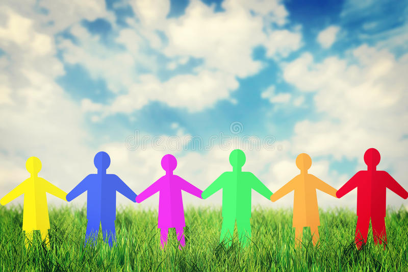 Concept of unity and friendship. Many multicolored paper people stock images
