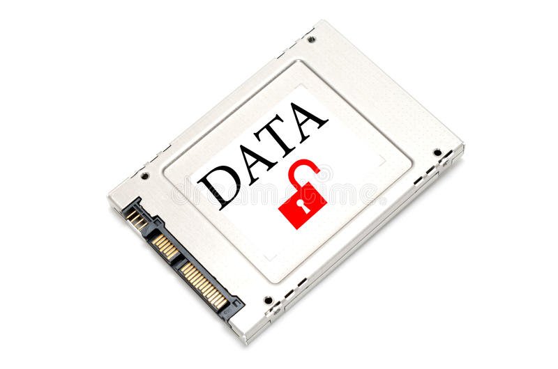 Concept unsecured data drive. Concept breach data drive showing a SSD with open lock on it stock images