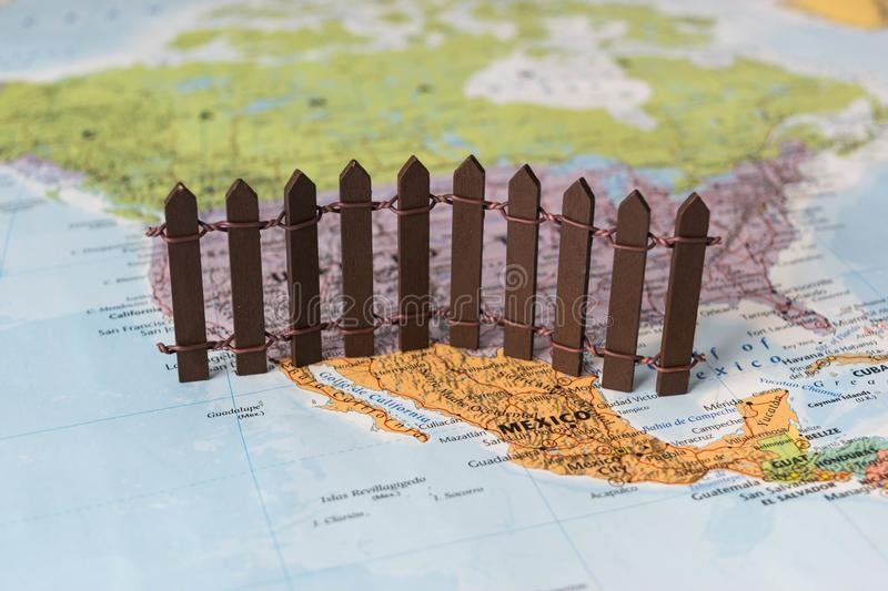 Concept of US-Mexican border wall as suggested by American president Donald Trump royalty free stock photo