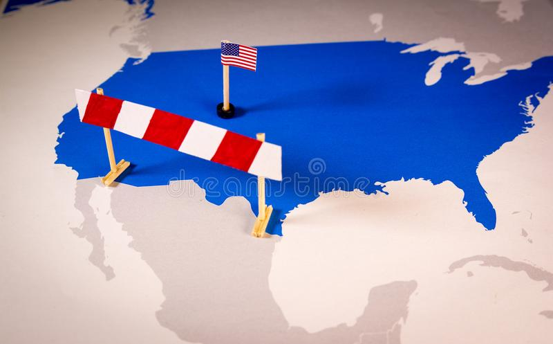 Mexico and USA border barrier. Concept of US-Mexican border wall as suggested by American president Donald Trump royalty free stock images