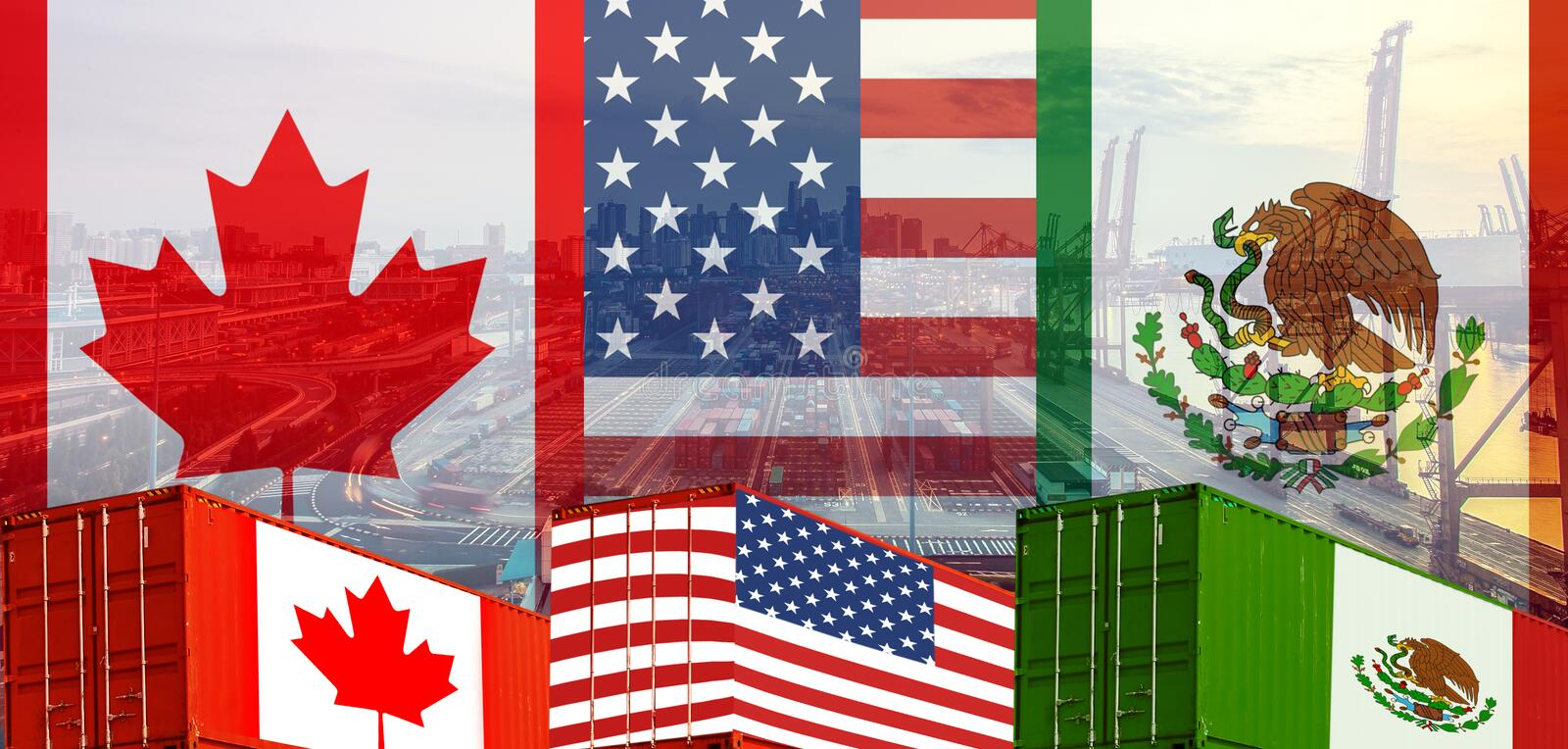 Concept of USMCA or the new NAFTA United States Mexico Canada agreement, trade deal and economic. Dea stock photo