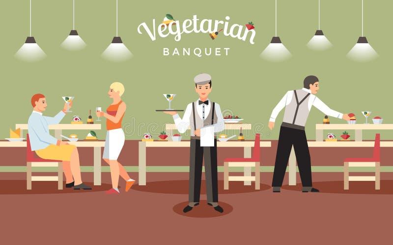 Concept végétarien de banquet Illustration de vecteur illustration libre de droits