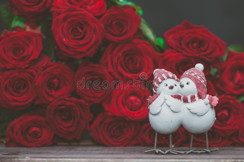 Concept Valentine day, love, two cute love birds. On a background of red roses. Stylish love concept, space for text stock image
