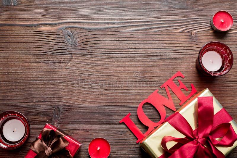 Concept Valentine Day love wooden background top view mock up. Concept of Valentine Day love wooden background top view mock up royalty free stock photos