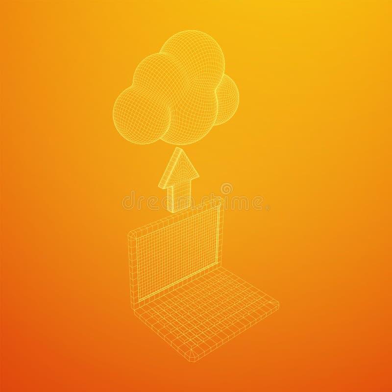 Concept van cloud computing-technologie met laptop stock illustratie