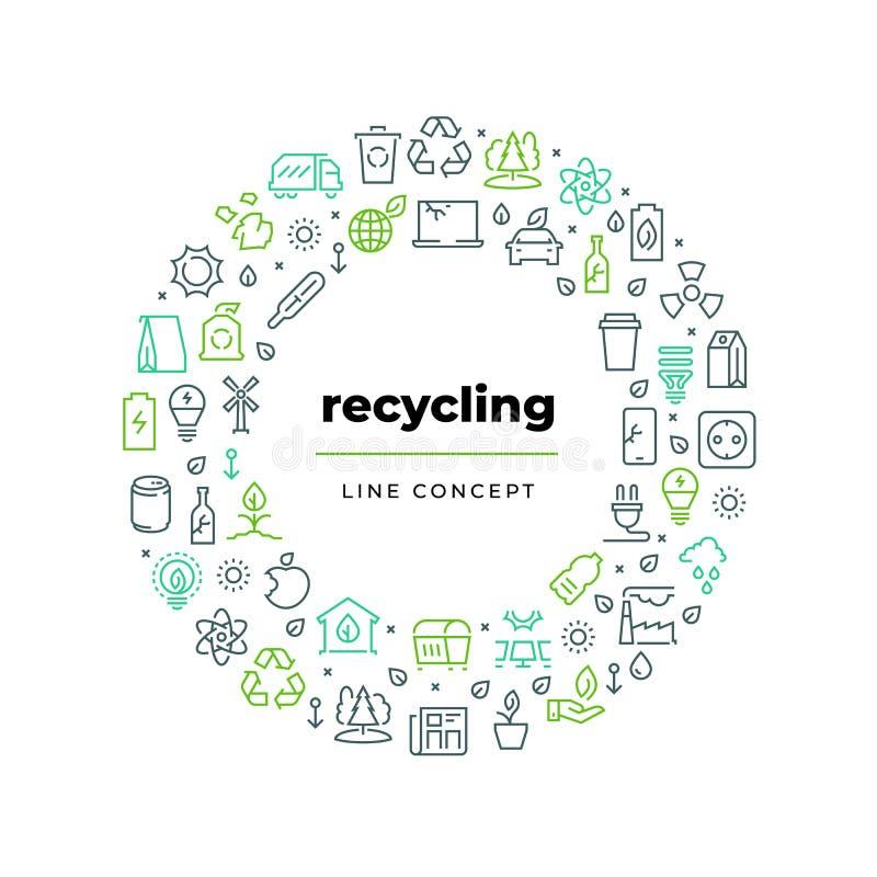Concept van de afval het kringlooplijn Nul van het het huisvuilhergebruik van het afvalmilieu plastic bio de natuurvoedingafval E vector illustratie