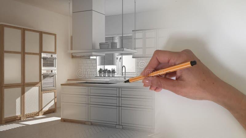 Concept van de architecten het binnenlandse ontwerper: hand die een ontwerp binnenlands project trekken terwijl de ruimte echte,  royalty-vrije stock foto's
