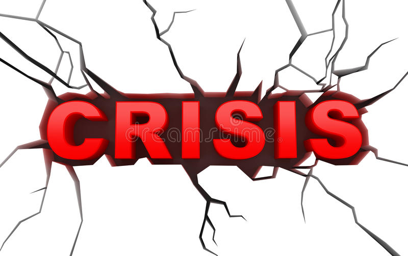 Concept van de crisis op wit craked oppervlakte vector illustratie